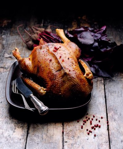 Roast goose with apple stuffing.